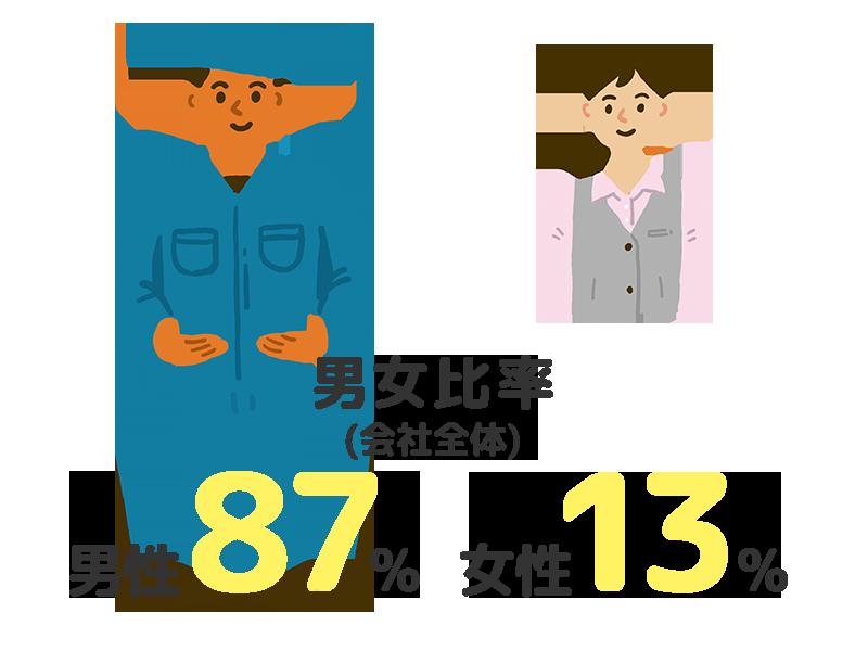 男女比率 (会社全体):男性87% 女性13%